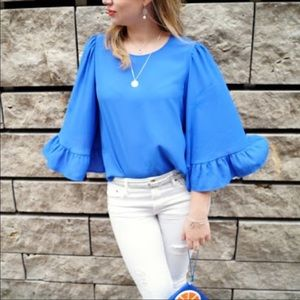 Zara Wide Sleeve Ruffle Blue Blouse Sz M